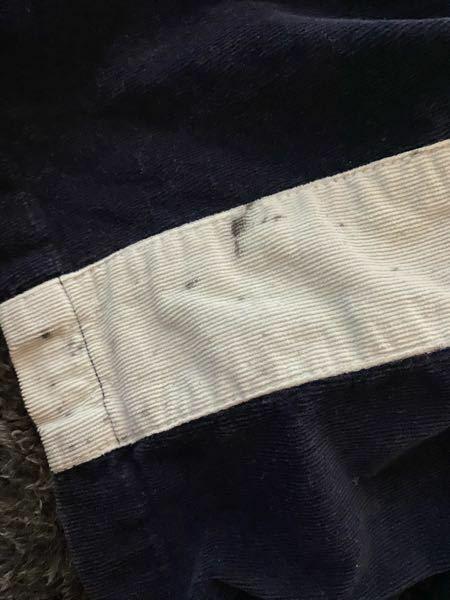 至急教えて欲しいです!!!! イカ墨がズボンについてしまっていて、 洗濯し終わって畳んでる時に気づきました。 ズボンの生地がコーデュロイで 紺色のズボンの横にある白のラインのとこに ついていて、漂白していいもなのか 何を使ったらいいのか、 どうしていいのかさっぱり分かりません。 わかる方教えてください。お願いします 一応写真貼っておきます。 写真にうつってないところも数箇所飛び散ってます。