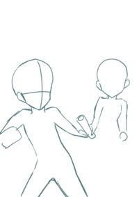 イラストのポーズについて バトンを渡そうとする時のポーズを描こうとしています。でも、身体がどんな感じに なるのかが分からないです。 手前にバトンを受け取ろうとしている男子 後ろにバ トンを渡そうとし...
