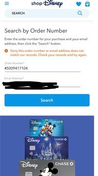 海外ディズニーストアで買ったものが届かなく、サイトで確認しようとしたらオーダーナンバーもメールアドレスも間違えていないのにこの文言が出ます。そもそも買えていないことになってしまって るんでしょうか?