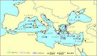 この地図で、オリエントとギリシアそれぞれの地域に印をつけてください。 オリエントとギリシアの場所の位置の違いがわかりません。  世界史B