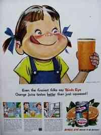 ペコちゃんは実はパクリキャラだったんですね!! ペコちゃんは不二家の自社キャラクターの振りをしてますが、 アメリカのゼネラルフーズ社のオレンジジュース「バーズアイ」のキャラクター「メリーちゃん」(Merry)の完全パクリだそうです。 なんでも雑誌のライフに載ってたのをたまたま不二家の偉い人が見てパクったそうです。  ペコちゃんは今年70周年ですが、70年間も素知らぬ顔でパクリ続けてた...