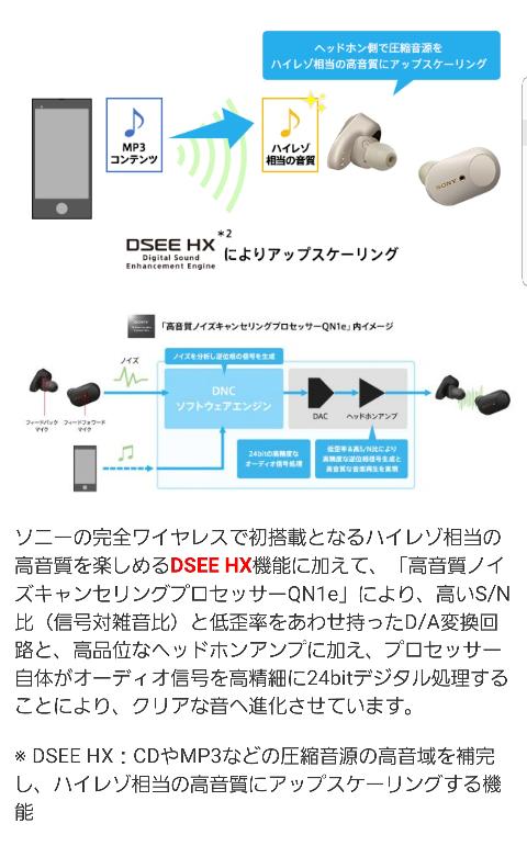 SonyのWF-1000XM3がきになっているのですが、これは音楽を自動的にハイレゾ相当にしてくれるのでしょうか?また、自分はGalaxyなのですがGalaxybudsliveとかの同ブランドイ...