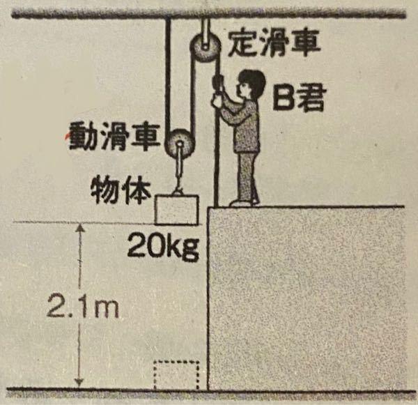 中学理科、仕事の問題です。 なるべく細かい解説をよろしくお願いします。 【問】この図の装置で、B君は20kgの物体を2.1m引き上げた。B君がひもを引いた力は何Nか。