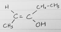 化学の質問です 問題に分子式がC5H10Oの第二級アルコールで、不斉炭素原子を持たず、幾何異性体を持つものを答えよ、という問題がありました。 これで、私は以下のようなものを書いたのですが、解答例に載ってい...