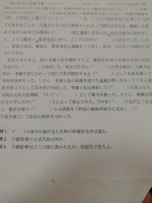 高校2年生の日本史Bです。 ( )の19番である藤原式家の〜 がわかりません!答えが配られてなくテスト範囲なので教えてほしいです