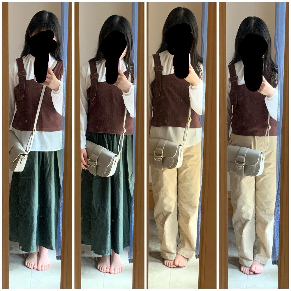 至急です!!この4枚の中のコーデだと、どれが一番いいですか??緑のスカートとベージュっぽいパンツです!