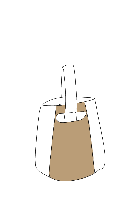 このイラストのような鞄を探しています。バケツ型バッグのような感じでした。 どこの鞄かは分からないので知ってる方がいればどこの物か教えてほしいです。大体で書いたイラストなのでちょっと誤差はあると思...