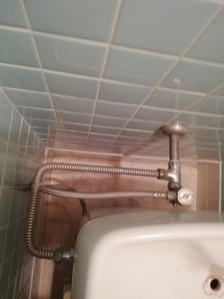 温水洗浄便座の交換について質問します。現在、古い温水洗浄便座がついています。裏に水栓があります。 この画像のような場合、素人でも交換できるのでしょうか?特殊で、工事を頼まないと無理でしょうか?よ...