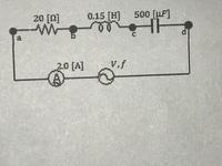 物理の問題です。解答、解説をお願いします。 写真の交流回路で交流電流計はI=2.0[A]と示されており、交流電源の周波数をf=100/2π[Hz]として次の値を答えよ。ただし電流、電圧は実効値とし、πは3.14で計算するこ...