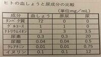 高1生物です。 下の表のとき、1日に2Lの尿が生成されたとすると、生成された原尿の量は1日何Lか。 グルコースの1日あたりの再吸収量は何mgか。 どちらかだけでもいいので教えてください。よろしくお願いします。