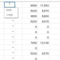 スプレッドシートのスクリプトについて  データの入力規則を手動で200個以上入力しなくてはいけません。 効率化を図る為、自動化したいです。 画像のように2つ右、3つ右の列の数値2つを入力規則のデータとして指定します。  これは右側は別の数値から抽出した値。  プルダウンリストが表示されているのがセル「BG2」。(結構でかい表です)  リストはこの場合、BY2、BZ2のいずれかで指定します。 ...