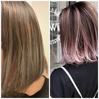 髪色で悩んでます。 今日美容室で髪色をバレイヤージュのピンク(ブリーチ1回)にしたいと美容師の方にお伝えしたのですが、できあがりがどう見てもバレイヤージュのグレー(緑味強め)でした。  子どもがいるため...
