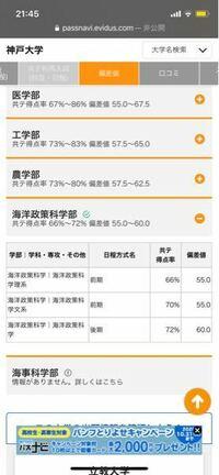 高3で神戸大学の海洋政策科学部を志願しています 理系でこのネットにはボーダー?が66%と書いていますがこれは共通テスト66%で合格率が50%ということなのでしょうか?(2次は考えず) また、比較的安定して合格す...