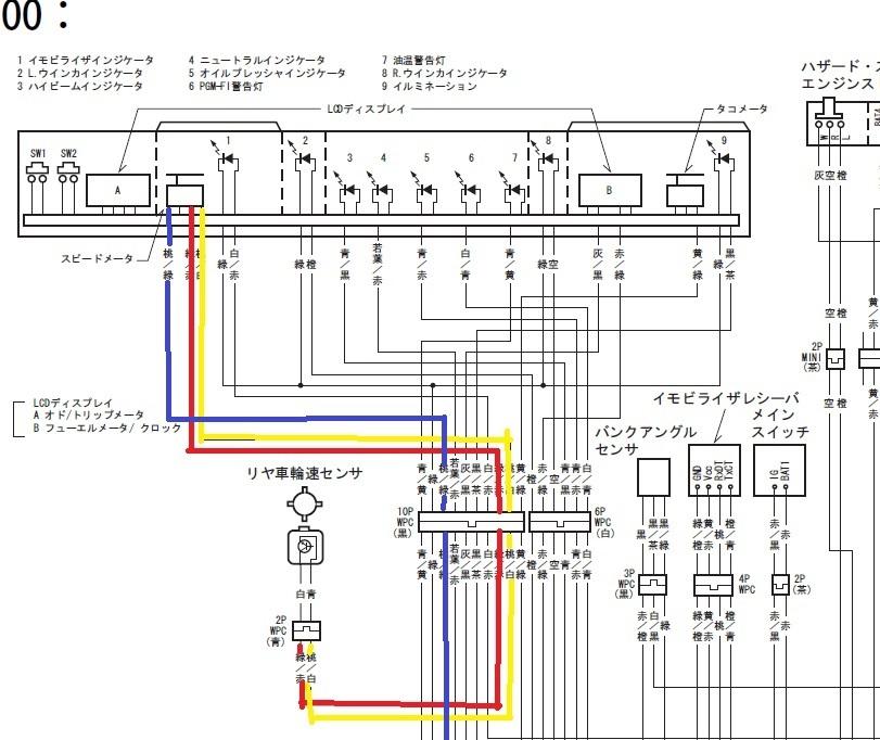 CB1100SC65のスピードメータについてです。 以下のような配線になっていますが、黄色で線を引いたのがパルス信号で 赤いのが+の電源きています。 どちらかを断線するとパルスが切れてしまいます...