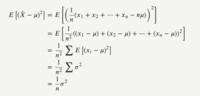 標本平均(Xバー)と母平均(µ)の偏差二乗和の期待値(=標本平均の分散)についての質問です. 画像のように式変形していけば公式が導けるようですが,画像の2行目→3行目の変形がわかりません.  E[∑(x-µ)²] はなぜ ∑E[(x-µ)²] にできるのでしょうか. 二乗されていることに引っかかっています.  よろしくお願いいたします.