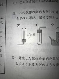 二酸化炭素では なぜ、ア・イの気体をとり方が 適切じゃないのですか?  選択肢ウは適切でした。…(答え)   二酸化炭素は水に溶けると炭酸になりますよね。二酸化炭素は水に溶けやすいと思うので、ウの水上置換...