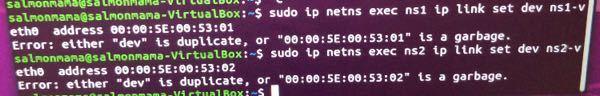 写真のようにlinuxカーネルでnetwork spaceにMacアドレスを指定したのですが、 命令文: sudo ip netns exec ns1 ip link set dev ns1-v...