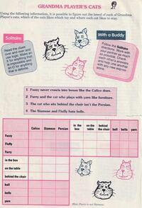 英語ワードゲームです。答えを教えてください。 Fuzzy, Fluffy, Furryという名前の3匹のネコがいます。これらのネコの種類(Calico, Siamese, Persian)、好きな場所(in the box, on the table, behind the chair)、好きな遊び道具(ball, bell, yarn)を、4つ+1のヒントを読んで当ててください。 それぞれ...