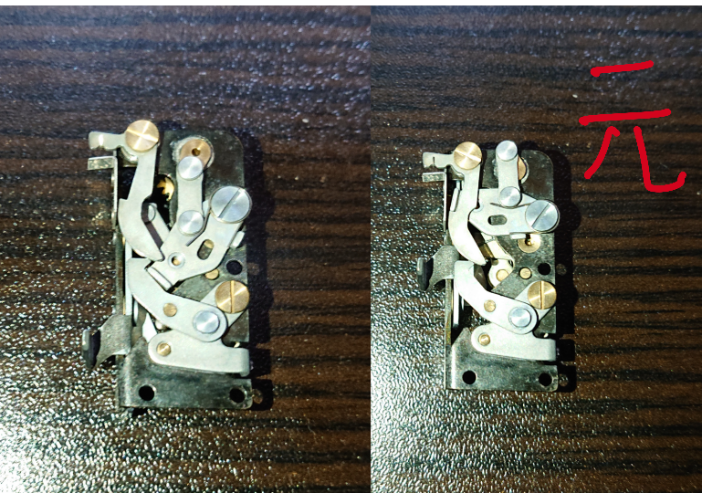 Olympus pen fのミラーアップ品の修理をしています ミラー横の部品の動きが悪いように思い、ベンジン浴をしたり注油をしたりしているのですが改善しませんでした 分解した時の状態が写真の右側...