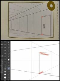 奥行きのあるドアのパースについて。 パースの勉強を始めた初心者です。 添付の上の画像のような、奥行きのあるドアを描きたいのですが、赤いマーカーでなぞった奥行きの線の描き方がわかりません。  実際にクリスタの二点透視で描いてみたのですが、添付の下の画像のように上下で全く違う角度になってしまいます。  分かる方がいましたら、教えて頂きたいです。