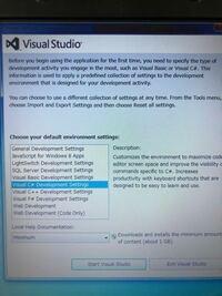 visual studio の初期設定で、 choose youhadefault enviror(?) を選ぶ画面で、どれを選べば良いのですか? c# 、visual basic 、など選択可能ですが…  ちなみにバージョンは、VSUです。