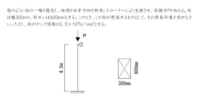 材料力学の座屈の問題です。 解き方を教えてください。