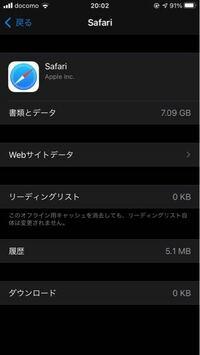 質問です。 ギガファイル便で6ギガの動画をダウンロードしたらsafariが7ギガを超えてしまいました。 ダウンロードした動画はSafariからは削除済みなのですがギガが戻りません。 対処法はありますでしょうか?
