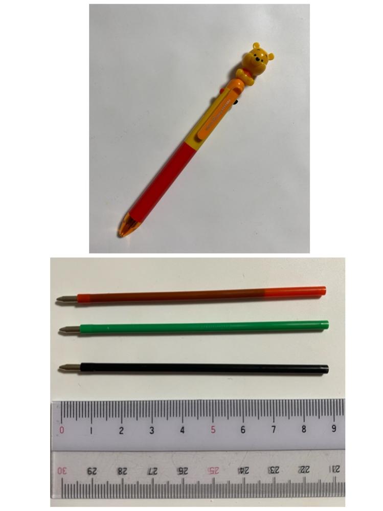 ディズニーランドで購入したボールペンの替え芯を探しています。このボールペンは3色(赤緑黒)+シャープペンシルです。 また、芯の側面にはそれぞれ番号がありました。 赤 : EPC0301911 緑 : EPC0101912 黒 : EPC0301911 自分でもネットで探してみたのですが、探し方が悪かったのか見つかりませんでした。 よろしくお願いします。