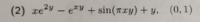 曲線接線の方程式を求める問題についてです。 写真の問題についてです。 解答は、(e^2-1+π)x+y-1=0 になるようです。 しかし、どう頑張ってもxの係数をe^2-1+πと変形出来ないです。 どうすればいいでしょうか? ※傾きdy/dxは、陰関数の定理を用いて求めました。