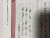 化学基礎 ⑹ イオンが含まれた化学反応式と化学式だけの反応式とでは何か解き方に違いがあると思うのですが、それを教えて欲しいです、、 ⑵⑷などは解けるのですが、イオンが含まれた⑹の解き方が分かりません。。