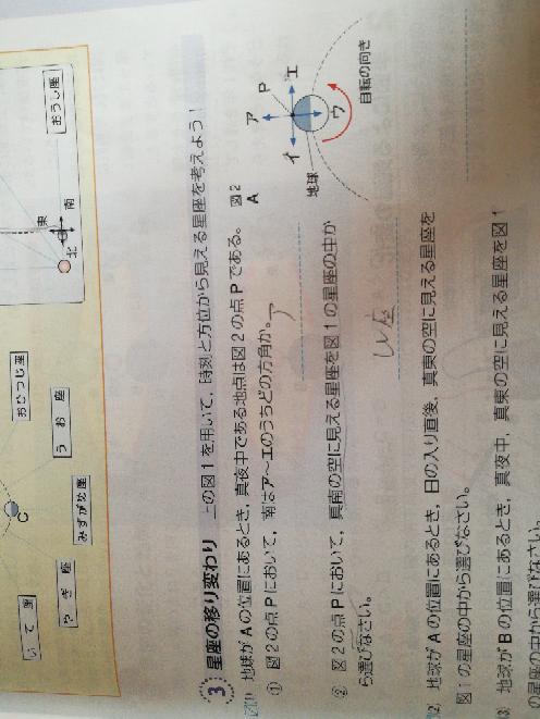 中3理科 (1)答えはアなんですが、これは点Pが日本だからっていう解釈でいいですよね? 天体の問題って観測値が日本である前提でいいって事ですよね?