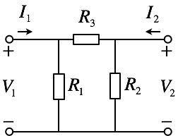 このπ型のzパラメータとhパラメータを求めてください。 R1=3Ω R2=5Ω R3=2Ω