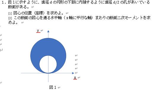 この図の、図心の位置、断面二次モーメントの求め方を教えてください