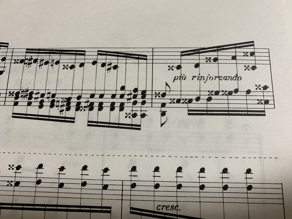 この楽譜に×の様な記号がありますがこれはなんて読みますか?また、どの様な意味がありますか?