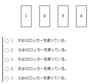 何度考えてもわからないので、お願いします! P,Q,R,Sの4人のロッカーが下の図のように並んでいて、4人はそれぞれ異なるロッカーを使っている。 次の発言はSを除く3人の発言である。このとき、正しいといえるのは1~5のうちいずれか。  ・私は2のロッカーを使っている。 ・私はPとRの間のロッカーを使っている。 ・私は3のロッカーの隣を使っているが、私はPではない。