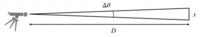 この図から天体までの距離Dと天体の大きさ x , 天体の見かけの大きさの角度 Δθ の関係式はどうなるでしょうか? Δθ=tanΔθ=sinΔθ の近似を用いて答えたいです。