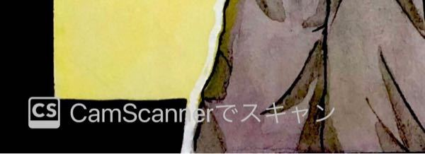Cam Scannerで描いた絵をスキャンしてもっとを押してアルバムにダウンロード?したのですが、左下にこんな文字が表示されてしまいました。 どうすれば消えますか?
