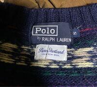 ラルフローレンのタグについて。柄のセーターで、タグが大文字になっているのですが、これって本物なんでしょうか?品質表示には内外織物と書いてあります。