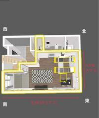 間取りレイアウトについて質問です。 システムキッチンの配置に迷っております。 初め建築士さんから提示されたのは黄色で描かれているところにシステムキッチン、ダイニングテーブルが配置されておりました。 システムキッチンの向きを南西側に変えると、ダイニングテーブル置くのは厳しいでしょうか? 縦幅5マス内で配置するにはやはり最初の配置が良いでしょうか。 もちろんダイニングテーブルは大きいものでなく、...