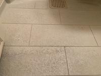 経年劣化による風呂場の床の黒い汚れ(経年劣化)を落としたいのですが、汚れを落とす方法はありますか? 市販のドメストを使用したり、たわしで擦ってみたのですが、なかなか落ちてくれません。