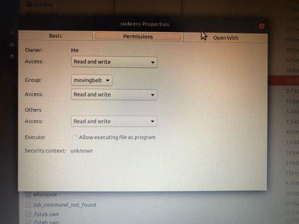 ubuntu18.04でsudoコマンドが出来なくなりました。 sudoersのownerが画像のようにrootではなくなっていたのでそれが原因かなと思っているのですが、解決策ご存知の方教えてい...