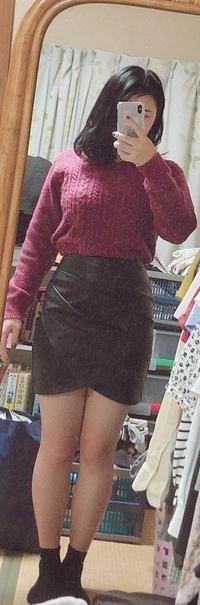 ミニスカートと足の太さについて。  ネットでレザーのミニスカートを買ったのですが、この足の太さじゃさすがにダサいですかね…?