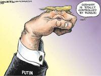 この風刺画のポイントを教えてください。 ドイツ、アメリカ、ロシアの関係性がイマイチよくわからないので、その点を絡めてもらえると助かります。