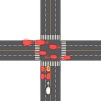 交差点 緊急車両 について 交差点で信号待ちをしている時、自分が黄色でマルク印をつけた車だった場合どのように緊急車両を避ければ良いのでしょうか?  赤:一般車両 黄の丸がついたもの:自分 白:緊急車両