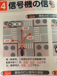 原動機付自転車の勉強を始めたのですがこれはどういうことですか? この図では二段階右折の標識もなく3車線でもないのに自動車と同じように直進、左折、右折出来ないのですか?二段階右折するのですか?こんがらがってます。