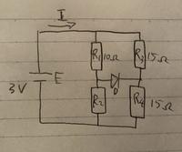 電子回路についての質問です。ダイオードが含まれるブリッジ回路の問題の解き方が分からないので解き方を教えていただきたいです。条件は 電圧3V ダイオードの順方向電圧が0.5V R1=10Ω R3=15Ω R4=15Ωで ①R2=5Ωの時の電流I ②R2=30Ωの時ダイオードに流れる電流 自分で解いてみた結果は ①0.256A ②0.156A になりましたが合っている気がしません。