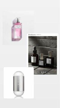 香水、ヘアミストで、この3つで悩んでます… 女子高生がつける香水だったらどれがいいですか?? 香水臭いのはあまり好きじゃなく…  今はDiorのヘアミスト使ってます! 上から ・Dior ヘアミスト ・AUX PARADIS ...