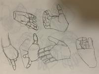 手のクロッキーを1分でLine of action というサイトを使い練習をしているのですが指を描く時のコツが掴めません。 どういうところを直したら良いか教えてください。