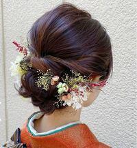 成人式でこのヘアアレンジをしたいと思っているのですが、お花の名前がひとつもわかりません。写真のお花の名前がわかる方教えてください。