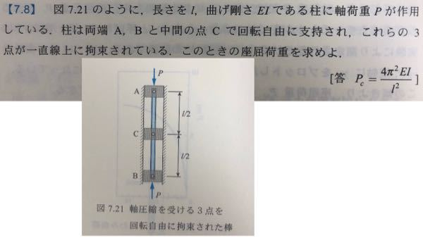 材料力学の座屈に関する問題について質問させていただきます。 下の写真の問題について、中間で支持されている問題の解き方が分かりません。解説をお願いいたします。